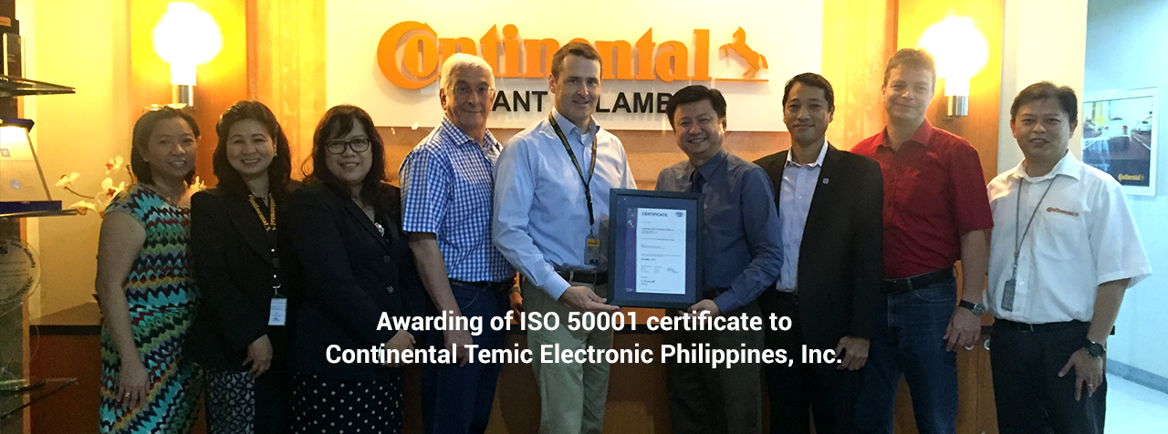 Awarding of ISO 50001 certificate to Continental Temic Electronic Philippines, Inc.